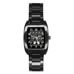 Kiss Me I m Irish Ugly Christmas Black Background Stainless Steel Barrel Watch by Onesevenart