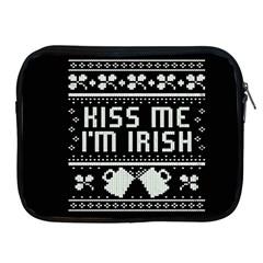 Kiss Me I m Irish Ugly Christmas Black Background Apple Ipad 2/3/4 Zipper Cases by Onesevenart