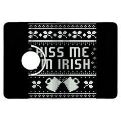 Kiss Me I m Irish Ugly Christmas Black Background Kindle Fire Hdx Flip 360 Case by Onesevenart