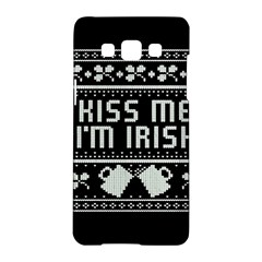 Kiss Me I m Irish Ugly Christmas Black Background Samsung Galaxy A5 Hardshell Case  by Onesevenart