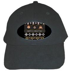 Merry Nerdmas! Ugly Christma Black Background Black Cap by Onesevenart