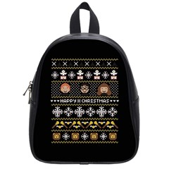 Merry Nerdmas! Ugly Christma Black Background School Bags (small)  by Onesevenart