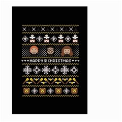Merry Nerdmas! Ugly Christma Black Background Large Garden Flag (two Sides) by Onesevenart