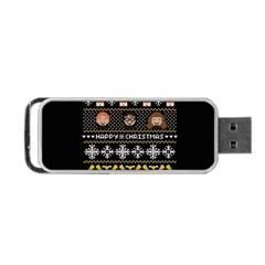 Merry Nerdmas! Ugly Christma Black Background Portable Usb Flash (two Sides) by Onesevenart