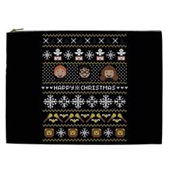 Merry Nerdmas! Ugly Christma Black Background Cosmetic Bag (xxl)  by Onesevenart