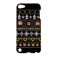 Merry Nerdmas! Ugly Christma Black Background Apple Ipod Touch 5 Hardshell Case by Onesevenart