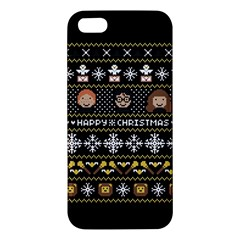 Merry Nerdmas! Ugly Christma Black Background Apple Iphone 5 Premium Hardshell Case by Onesevenart