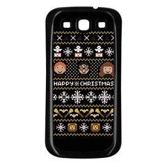 Merry Nerdmas! Ugly Christma Black Background Samsung Galaxy S3 Back Case (black) by Onesevenart