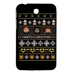 Merry Nerdmas! Ugly Christma Black Background Samsung Galaxy Tab 3 (7 ) P3200 Hardshell Case  by Onesevenart