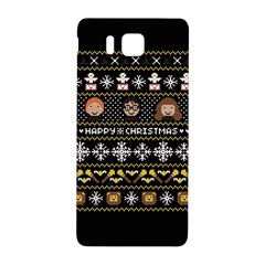 Merry Nerdmas! Ugly Christma Black Background Samsung Galaxy Alpha Hardshell Back Case by Onesevenart