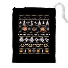 Merry Nerdmas! Ugly Christma Black Background Drawstring Pouches (xxl) by Onesevenart