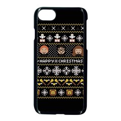 Merry Nerdmas! Ugly Christma Black Background Apple Iphone 7 Seamless Case (black) by Onesevenart