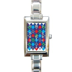 Minecraft Ugly Holiday Christmas Rectangle Italian Charm Watch by Onesevenart
