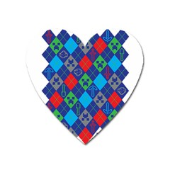Minecraft Ugly Holiday Christmas Heart Magnet by Onesevenart