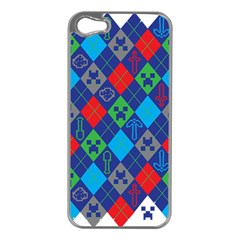 Minecraft Ugly Holiday Christmas Apple Iphone 5 Case (silver) by Onesevenart