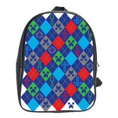 Minecraft Ugly Holiday Christmas School Bags (xl)  by Onesevenart