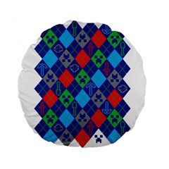 Minecraft Ugly Holiday Christmas Standard 15  Premium Flano Round Cushions by Onesevenart