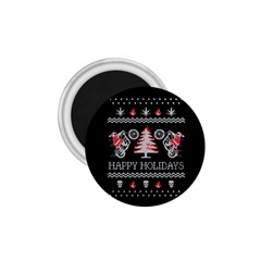 Motorcycle Santa Happy Holidays Ugly Christmas Black Background 1 75  Magnets by Onesevenart