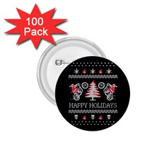 Motorcycle Santa Happy Holidays Ugly Christmas Black Background 1 75  Buttons (100 Pack)  by Onesevenart
