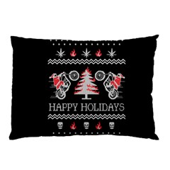Motorcycle Santa Happy Holidays Ugly Christmas Black Background Pillow Case (two Sides) by Onesevenart