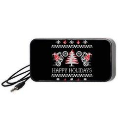 Motorcycle Santa Happy Holidays Ugly Christmas Black Background Portable Speaker (black) by Onesevenart