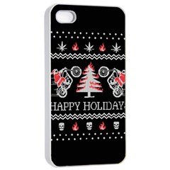 Motorcycle Santa Happy Holidays Ugly Christmas Black Background Apple Iphone 4/4s Seamless Case (white) by Onesevenart