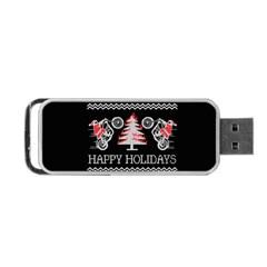 Motorcycle Santa Happy Holidays Ugly Christmas Black Background Portable Usb Flash (one Side) by Onesevenart