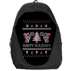 Motorcycle Santa Happy Holidays Ugly Christmas Black Background Backpack Bag by Onesevenart