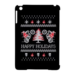 Motorcycle Santa Happy Holidays Ugly Christmas Black Background Apple Ipad Mini Hardshell Case (compatible With Smart Cover) by Onesevenart