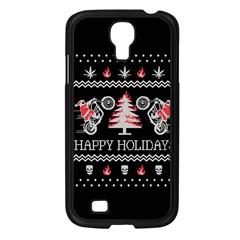 Motorcycle Santa Happy Holidays Ugly Christmas Black Background Samsung Galaxy S4 I9500/ I9505 Case (black) by Onesevenart