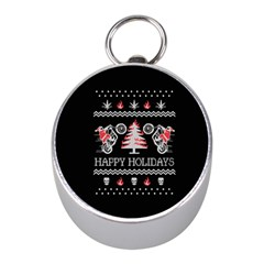 Motorcycle Santa Happy Holidays Ugly Christmas Black Background Mini Silver Compasses by Onesevenart