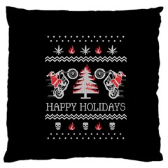 Motorcycle Santa Happy Holidays Ugly Christmas Black Background Standard Flano Cushion Case (two Sides) by Onesevenart