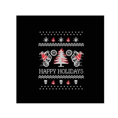 Motorcycle Santa Happy Holidays Ugly Christmas Black Background Small Satin Scarf (square) by Onesevenart