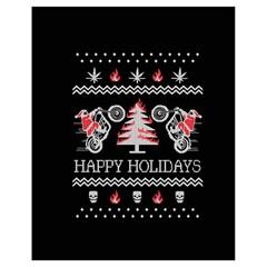Motorcycle Santa Happy Holidays Ugly Christmas Black Background Drawstring Bag (small) by Onesevenart