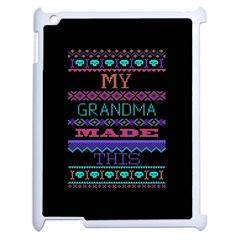 My Grandma Made This Ugly Holiday Black Background Apple Ipad 2 Case (white) by Onesevenart