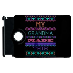 My Grandma Made This Ugly Holiday Black Background Apple Ipad 2 Flip 360 Case by Onesevenart