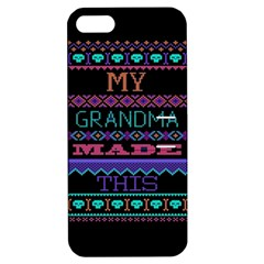 My Grandma Made This Ugly Holiday Black Background Apple Iphone 5 Hardshell Case With Stand by Onesevenart