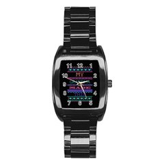 My Grandma Made This Ugly Holiday Black Background Stainless Steel Barrel Watch by Onesevenart