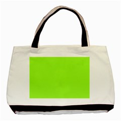 Neon Color   Brilliant Charteuse Green Basic Tote Bag (two Sides) by tarastyle