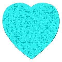 Neon Color   Brilliant Cyan Jigsaw Puzzle (heart) by tarastyle