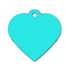Neon Color   Brilliant Cyan Dog Tag Heart (two Sides) by tarastyle