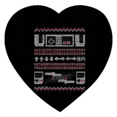 Old School Ugly Holiday Christmas Black Background Jigsaw Puzzle (heart) by Onesevenart
