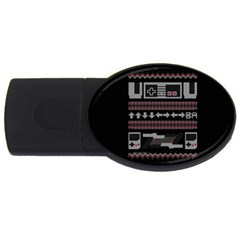 Old School Ugly Holiday Christmas Black Background Usb Flash Drive Oval (4 Gb) by Onesevenart