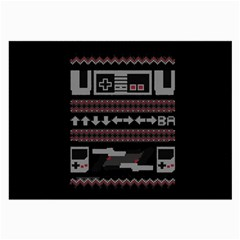 Old School Ugly Holiday Christmas Black Background Large Glasses Cloth by Onesevenart