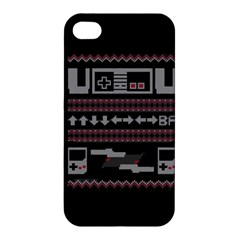 Old School Ugly Holiday Christmas Black Background Apple Iphone 4/4s Premium Hardshell Case by Onesevenart