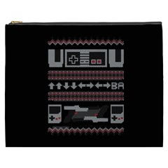 Old School Ugly Holiday Christmas Black Background Cosmetic Bag (xxxl)  by Onesevenart