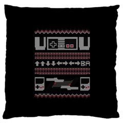 Old School Ugly Holiday Christmas Black Background Large Flano Cushion Case (two Sides) by Onesevenart