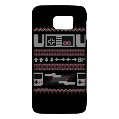 Old School Ugly Holiday Christmas Black Background Galaxy S6 by Onesevenart