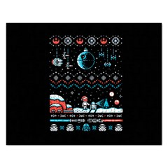 That Snow Moon Star Wars  Ugly Holiday Christmas Black Background Rectangular Jigsaw Puzzl by Onesevenart