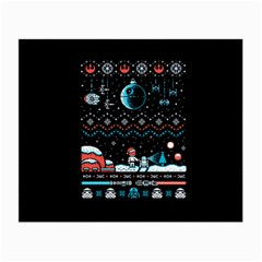 That Snow Moon Star Wars  Ugly Holiday Christmas Black Background Small Glasses Cloth by Onesevenart